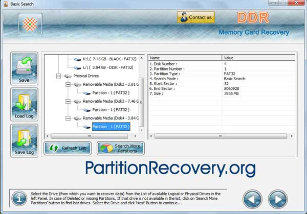 Free MMC card data retrieval application